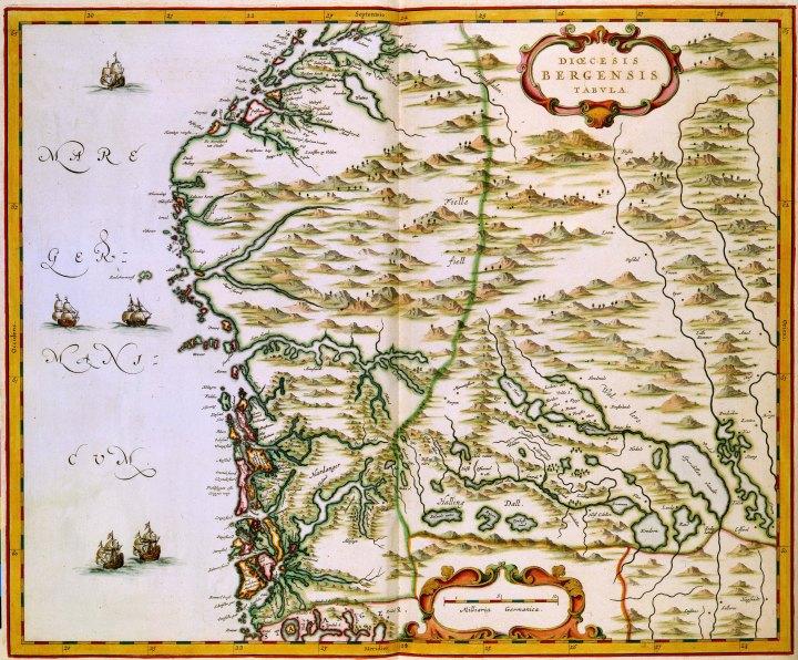 Map of Bergen diocese in Johan Blaeu's Atlas Maior, 1662