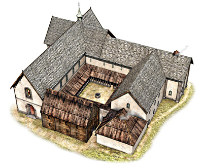 Hypothetical reconstruction of Lyse Monastery (Lyse kloster) (after H.-E. Lidén, © Arkikon)