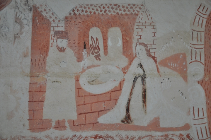 The Nativity painted on the north wall of the nave, early seventeenth century (photo Justin Kroesen)