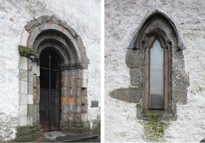 The entrance to Tårnfoten and early Gothic window in the east wall of the chapel/vestry (photos Justin Kroesen)